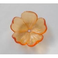 Fiore con foro centrale in resina color Arancione trasparente