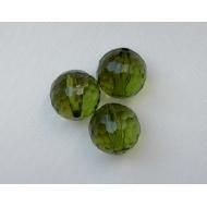 Palla multisfaccettata in resina color Verde oliva trasparente