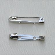 Spilla da incollo o da cucito a barra con 2 fori 25 mm. Base Argentato Rodio