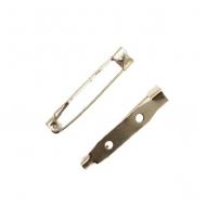 Spilla da incollo o da cucito a barra con 2 fori 33 mm. Base Argentato Rodio