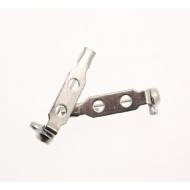 Spilla da incollo o da cucito a barra con 2 fori 20 mm. Base Argentato Rodio