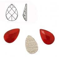 Cabochon a goccia sfaccettata, termoadesivo, in resina, colore ROSSO SCURO