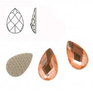 Cabochon a goccia sfaccettata, termoadesivo, in resina, colore ROSA