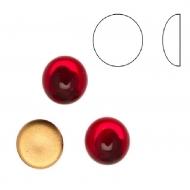 Cabochon tondo liscio, in cristallo, colore ROSSO