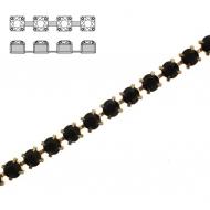 Catena strass, con cristalli non swarovski, base in metallo colore ottone, colore strass JET