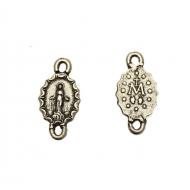 Distanziatore a forma di medaglia ovale con Madonna, con due anelli, 10x20 mm.