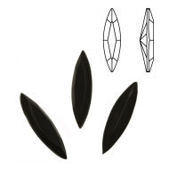 Gemma a navetta allungata, in cristallo, 24x6 mm., colore NERO