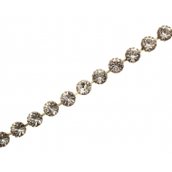 Catena strass francese, 10 mm. (SS45), base ottone, colore strass CRYSTAL