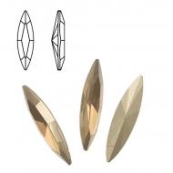 Gemma a navetta allungata, in cristallo, 24x6 mm., colore HONEY GOLD