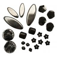 Mix Perline Nero-Antracite-Argento in vetro con aggiunta di elementi in vetro pregiato