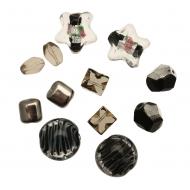 Mix Perline Nero sfumato con argento e oro in vetro con aggiunta di elementi in vetro pregiato