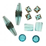 Mix Perline Azzurro sfumato con oro e bronzo in vetro con aggiunta di elementi in vetro pregiato