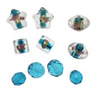 Mix Perline Azzurro con murrine in vetro con aggiunta di elementi in vetro pregiato
