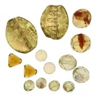 Mix Perline Verde chiaro sfumato con oro in vetro con aggiunta di elementi in vetro pregiato