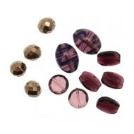 Mix Perline Ametista sfumato con oro e bronzo in vetro con aggiunta di elementi in vetro pregiato