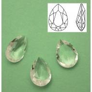 Gemma a goccia in cristallo sfaccettato (QUALITA� SUPERIORE), 10x14 mm., colore CRYSTAL (NO FOILED)