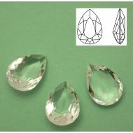 Gemma a goccia in cristallo sfaccettato (QUALITA� SUPERIORE), 18x13 mm., colore CRYSTAL (NO FOILED)