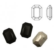Gemma rettangolare, in cristallo, 14x10 mm., colore NERO