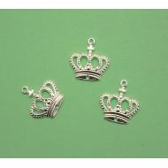 Ciondolo a forma di corona, piatta e sottile, 14x15 mm., in Argento 925