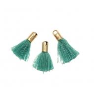 Nappina in cotone con coppetta in ottone colore argentato rodio, colore VERDE TIFFANY