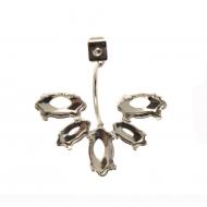 Farfallina per perno con astina curva e con cinque castoni porta gemme a navetta finali, 25x27 mm.
