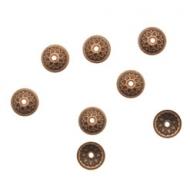 CONFEZIONE RISPARMIO - Coppetta tonda sottile lavorata a puntini, diametro 8 mm., colore RAME ANTICATO
