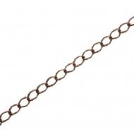 Catena grumetta, martellata esternamente, dimensione anello 7x5 mm.