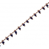 Catena grumetta con inserti conteria Blu, base rame lucido