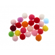 Pon Pon, in nylon, tondo, diametro 10 mm., colori MISTI