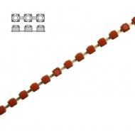 Catena strass, con cristalli Preciosa, base in metallo colore ottone, colore strass ARANCIONE PIENO
