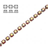 Catena strass, con cristalli Preciosa, base in metallo colore ottone, colore strass ROSE AB