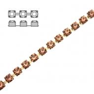 Catena strass, con cristalli Preciosa, base in metallo colore ottone, colore strass APRICOT