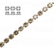 Catena strass, con cristalli Preciosa, base in metallo colore ottone, colore strass HONEY
